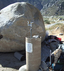 The Rock and faucet at Snow Creek