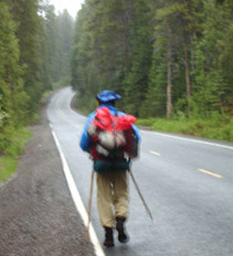 Roadwalking to Lake of the Woods in rain/snowflakes