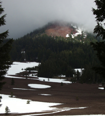 Snow on the lava fields north of Crater Lake