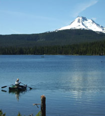 Ollalie Lake, a fisherman, and Mt. Jeff--classic!